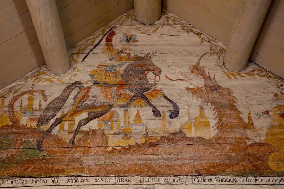 Sankt Göran och draken i Trysunda kapell.